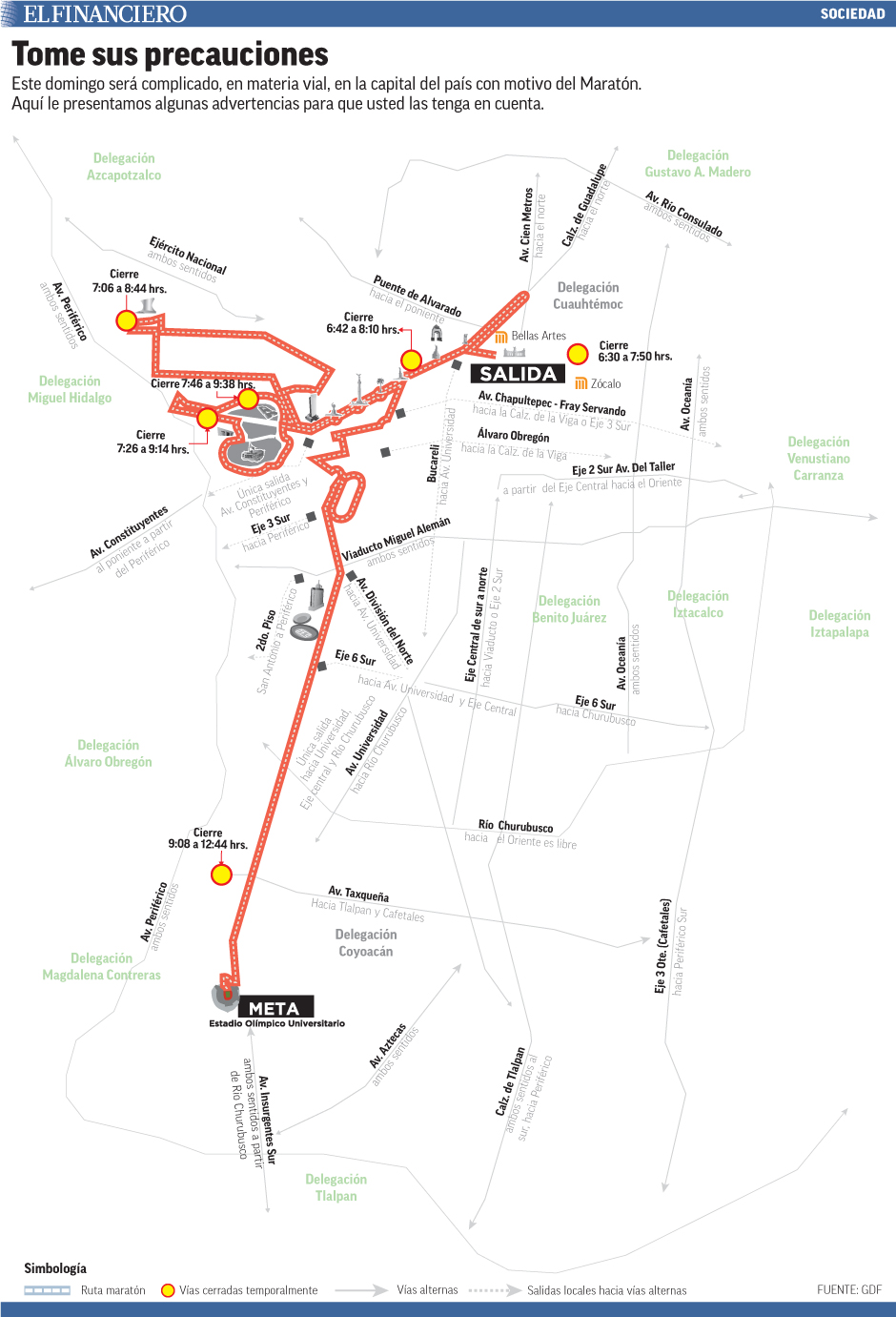 Este domingo será complicado, en materia vial, en la capital del país con motivo del Maratón. Aquí le presentamos algunas advertencias para que usted las tenga en cuenta.