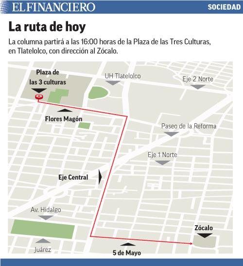 La columna partirá a las 16:00 horas de la Plaza de las Tres Culturas, en Tlatelolco, con dirección al Zócalo.