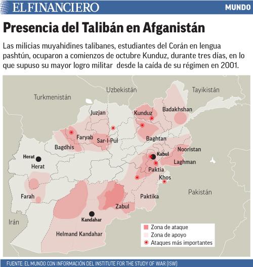 Las milicias muyahidines talibanes, estudiantes del Corán en lengua pashtún, ocuparon a comienzos de octubre Kunduz, durante tres días, en lo que supuso su mayor logro militar  desde la caída de su régimen en 2001.