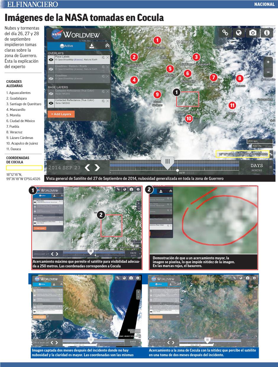 Nubes y tormentas del día 26, 27 y 28 de septiembre impidieron tomas claras sobre la zona de Guerrero. Ésta la explicación del experto