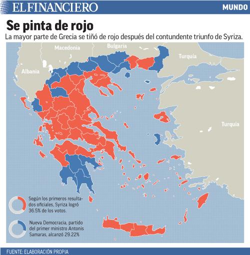 La mayor parte de Grecia se tiñó de rojo tras el contundente triunfo de Syriza.