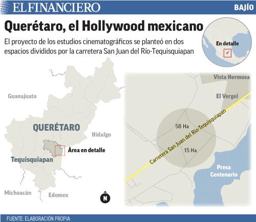 El proyecto de los estudios cinematográficos se planteó en dos espacios divididos por la carretera San Juan del Río-Tequisquiapan
