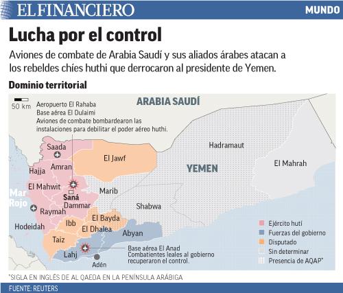 Aviones de combate de Arabia Saudí y sus aliados árabes atacan a los rebeldes chíes huthi que derrocaron al presidente de Yemen.