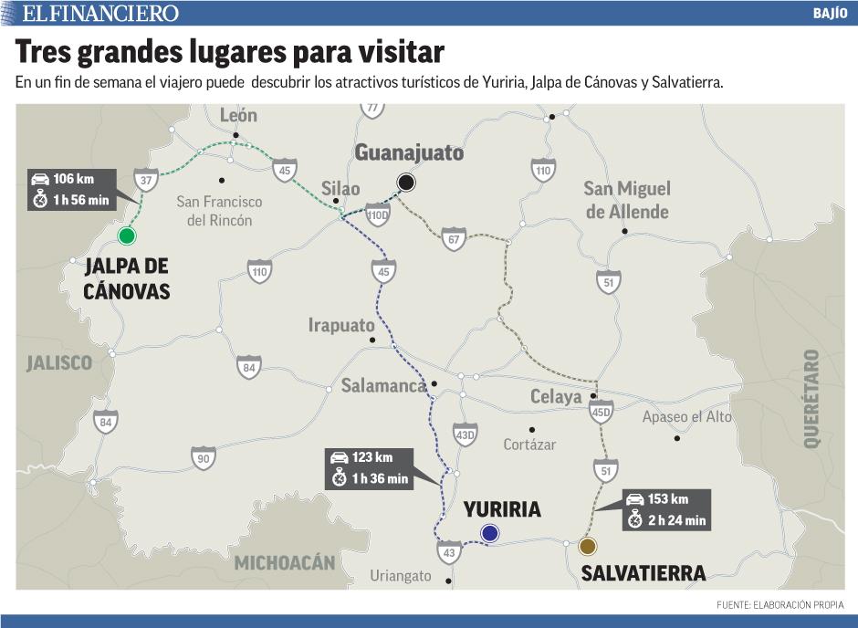 En un fin de semana el viajero puede  descubrir los atractivos turísticos de Yuriria, Jalpa de Cánovas y Salvatierra.