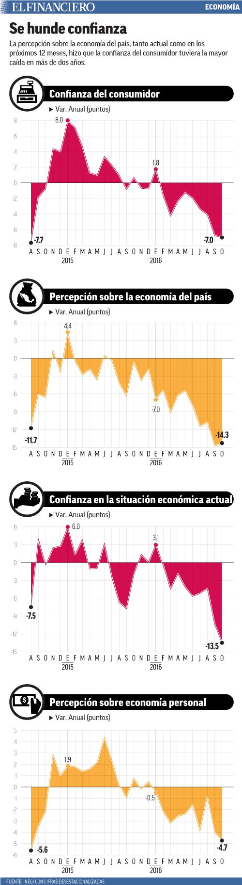 La percepción sobre la economía del país, tanto actual como en los próximos 12 meses, hizo que la confianza del consumidor tuviera la mayor caída en más de dos años.