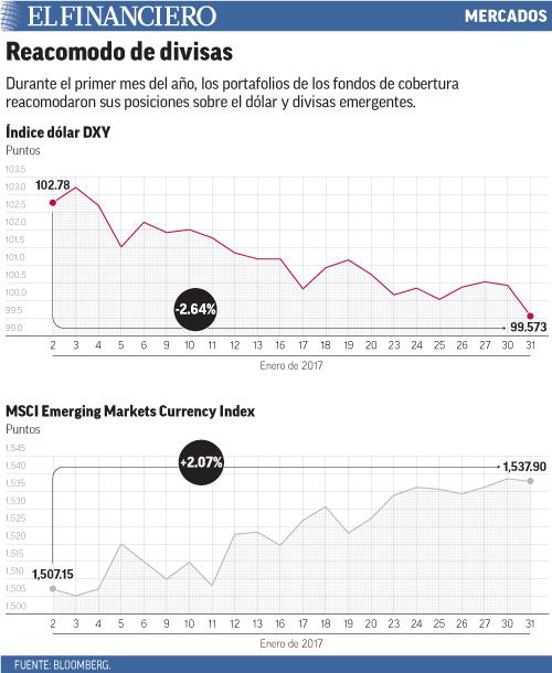 Durante el primer mes del año, los portafolios de los fondos de cobertura reacomodaron sus posiciones sobre el dólar y divisas emergentes.