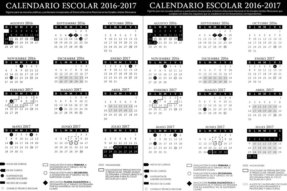 Calendario escolar 2016-2017 | El Financiero
